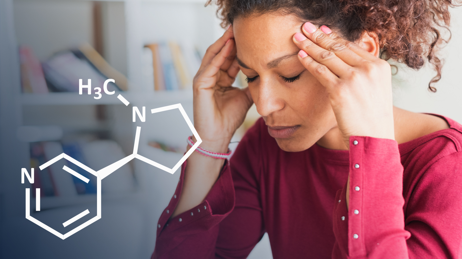 Nicotine chemical symbol over a woman holding her head