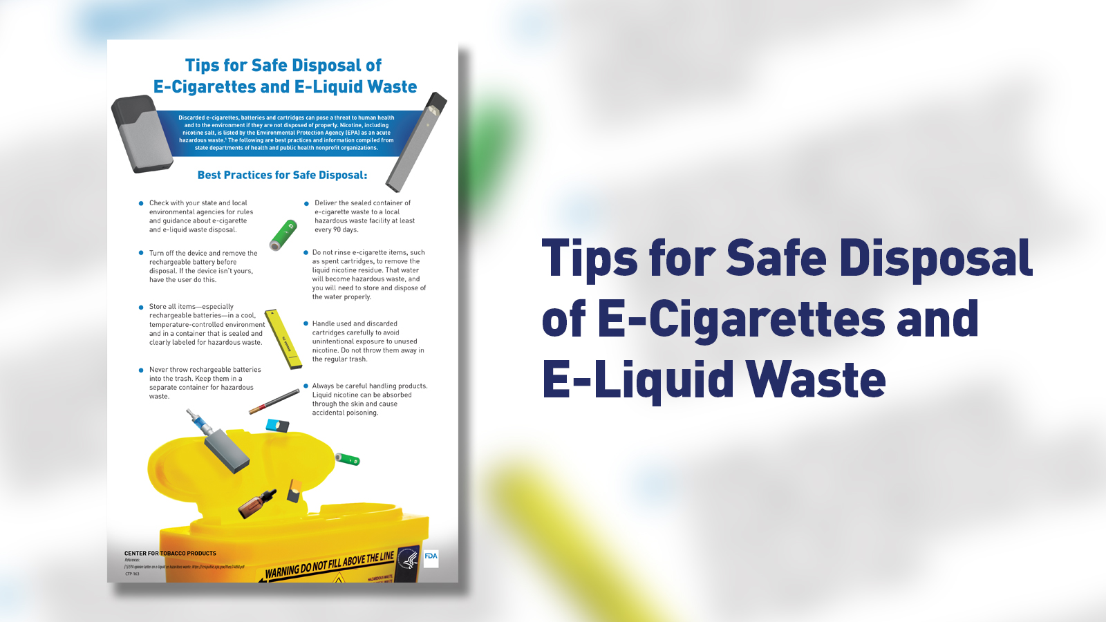 Tips for Safe Disposal of E-Cigarettes and E-Liquid Waste