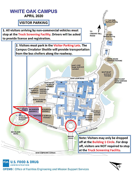 Map showing location of visitor parking on the White Oak Campus