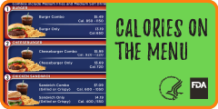 Menu board with calories