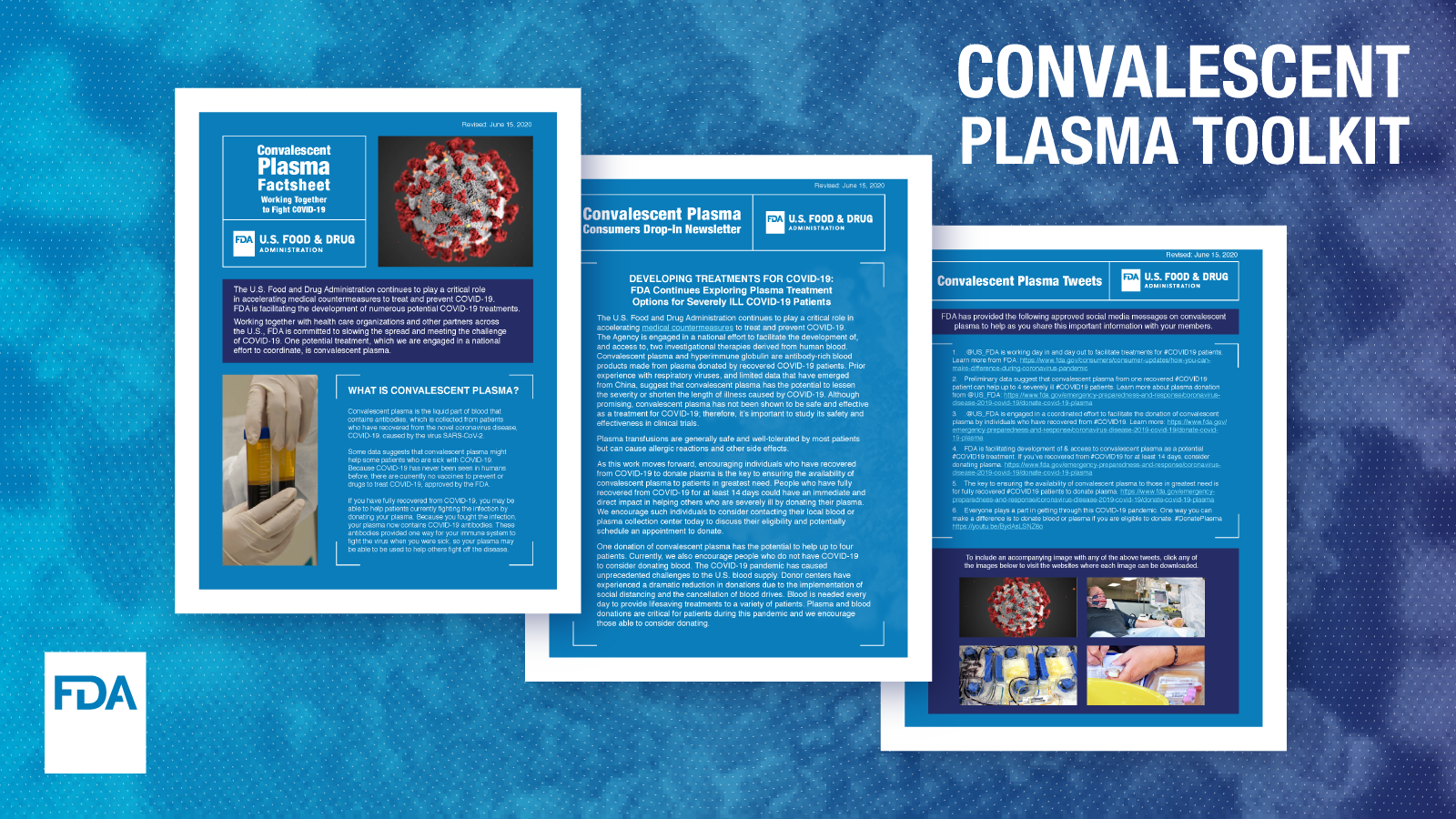 Convalescent Plasma Toolkit; small images of materials in the toolkit
