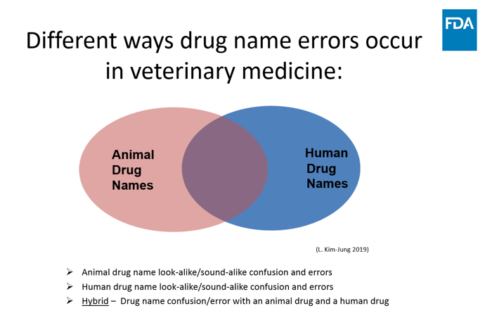 In the veterinary medication use process, there are several different ways drug name mix-up errors can occur.  As demonstrated in Figure 1, there may be confusion between two animal drug names, confusion between two human drug names, and/or confusion between an animal drug and human drug name.  Any of these scenarios could result in a medication error, as described in case examples 1, 2, and 3.