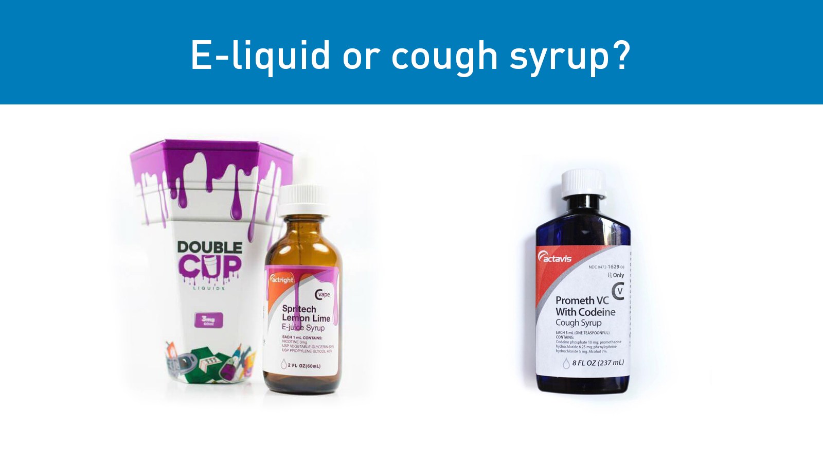 Two images of E-liquid and cough syrup