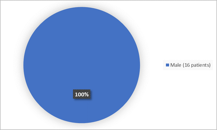 Pie chart summarizing how many men and women were in the clinical trial. In total, 16 men (100%) participated in the clinical trial.