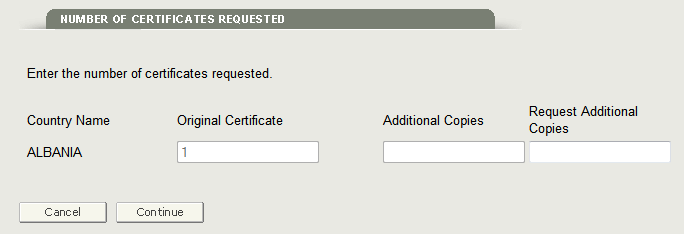 Figure 9: Update Number of Certificates Requested