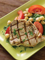 Grilled Tuna with Chickpea and Spanish Salad