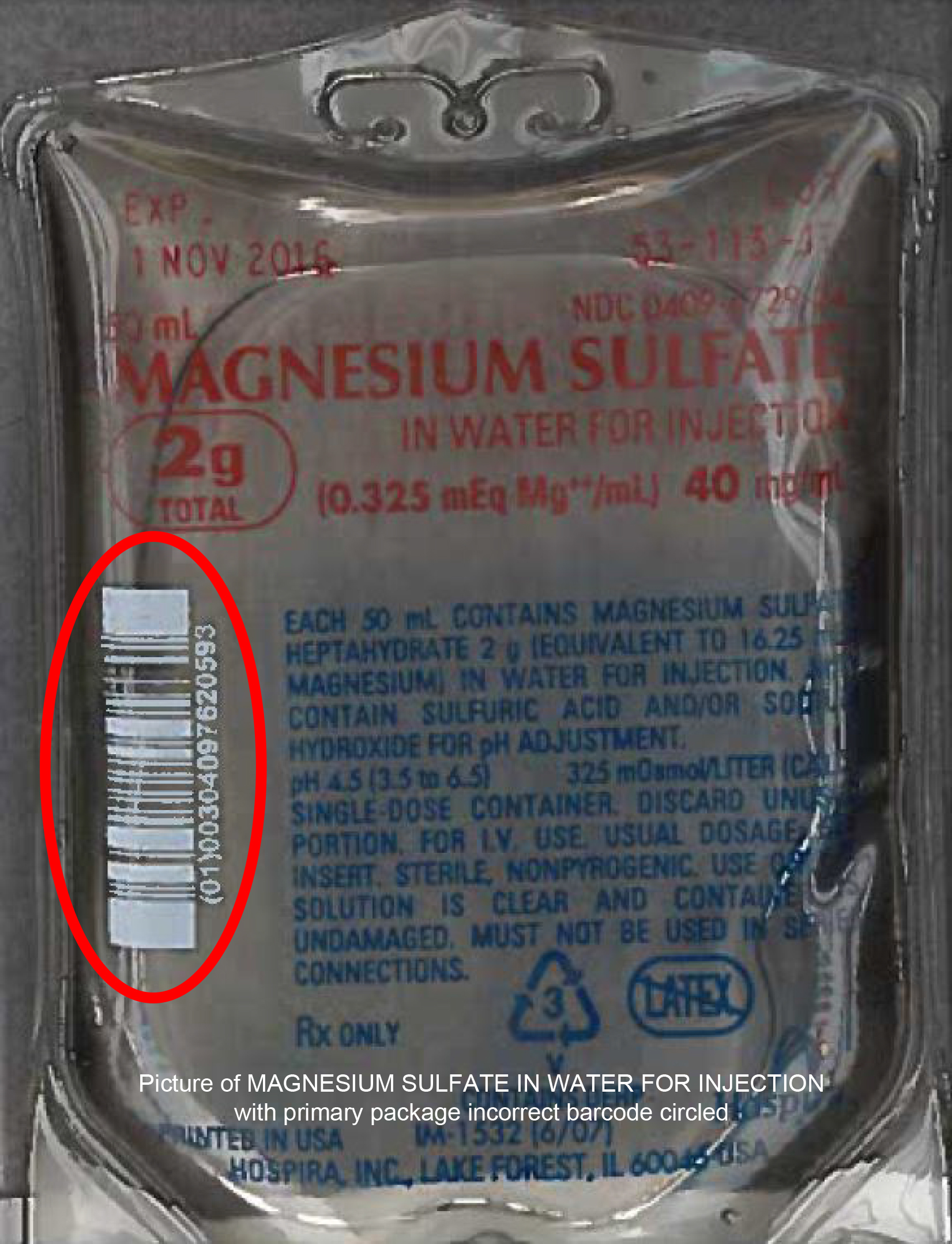 Product labeling, MAGNESIUM SULFATE IN WATER FOR INJECTION (0.325 mEq Mg**/mL) 40 mg/mL 2g total, 50 mL