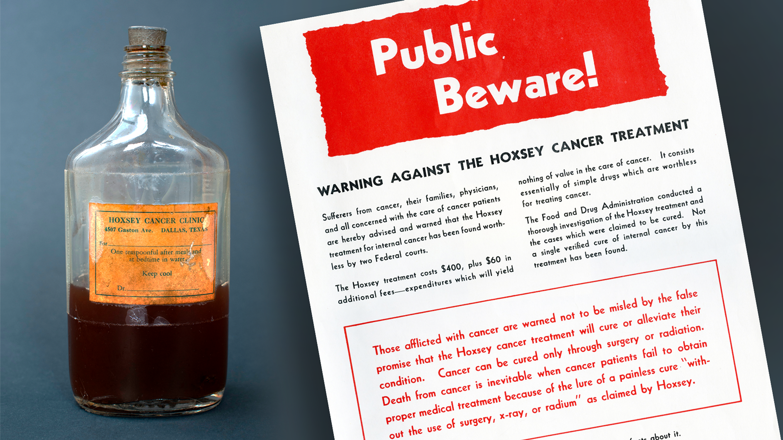 Hoxey Cancer Treatment fraudulent product and FDA warning poster.
