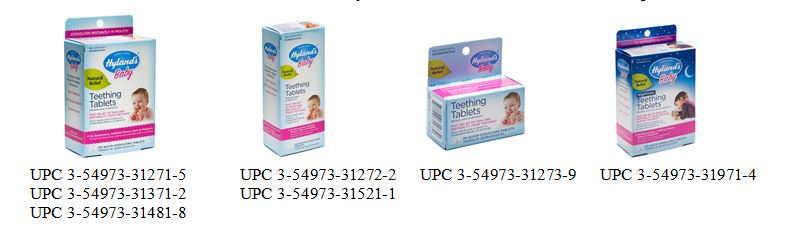 Hyland Recalled Products