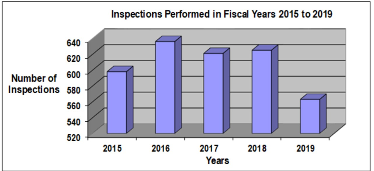 Inspections Performed in Fiscal Years 2015 to 2019