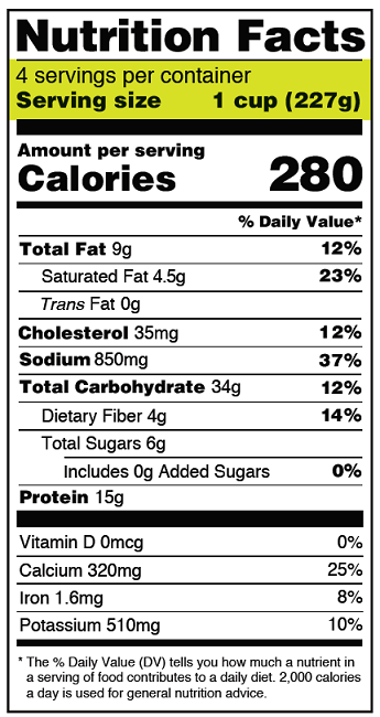 The New Nutrition Facts Label - Sample Label for Frozen Lasagna