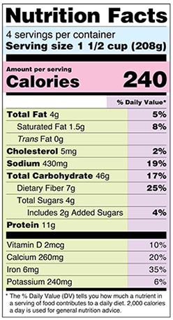 Nutrition Facts Label Sample