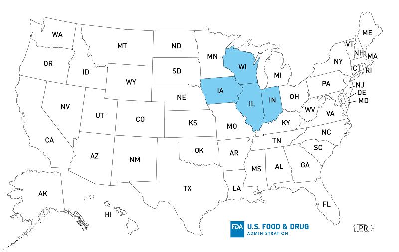 Outbreak Salmonella BrightFarms Sunny Crunch Salad - Distribution Map
