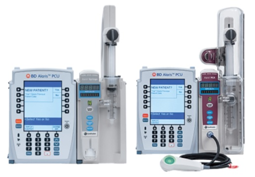 Syringe Module Model 8110 (left) and PCA Module Model 8120 (right); each attached to the Alaris PCU Module