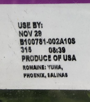 Romaine packaging with harvest region