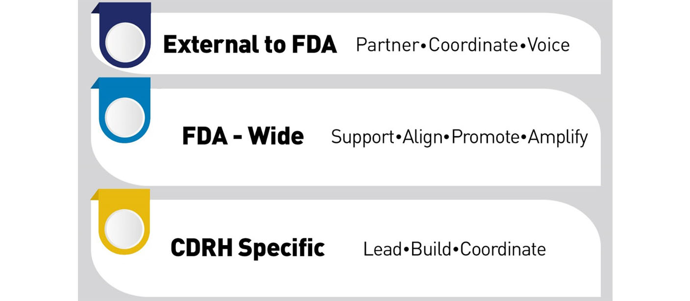 External to FDA - Partner, Coordinate, Voice.  FDA-wide - Support, Align, Promote, Amplify.  CDRH Specific - Lead, Build, Coordinate.