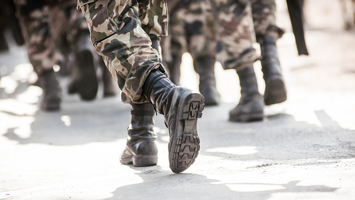 military personnel walking