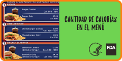 Calories on the Menu Menu Board Spanish