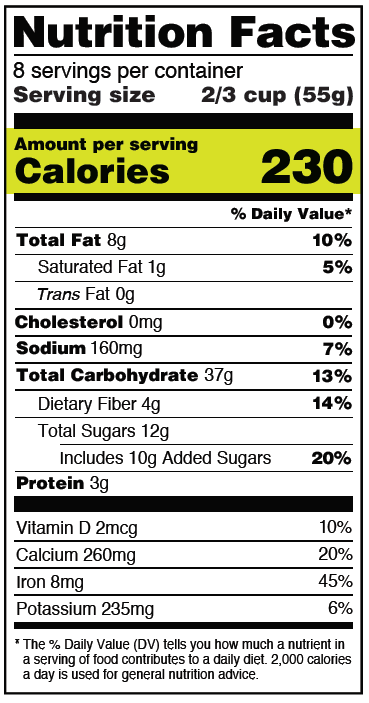 Calories On The New Nutrition Facts Label Fda