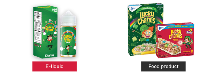 Electric Lotus, LLC, Cereal Treats Charms e-liquid resembling Lucky Charms cereal products