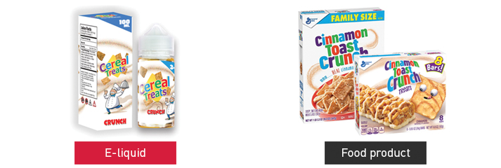 Electric Lotus, LLC, Cereal Treats e-liquid resembling Cinnamon Toast Crunch cereal