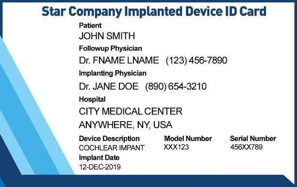 Front of Cochlear ID Card