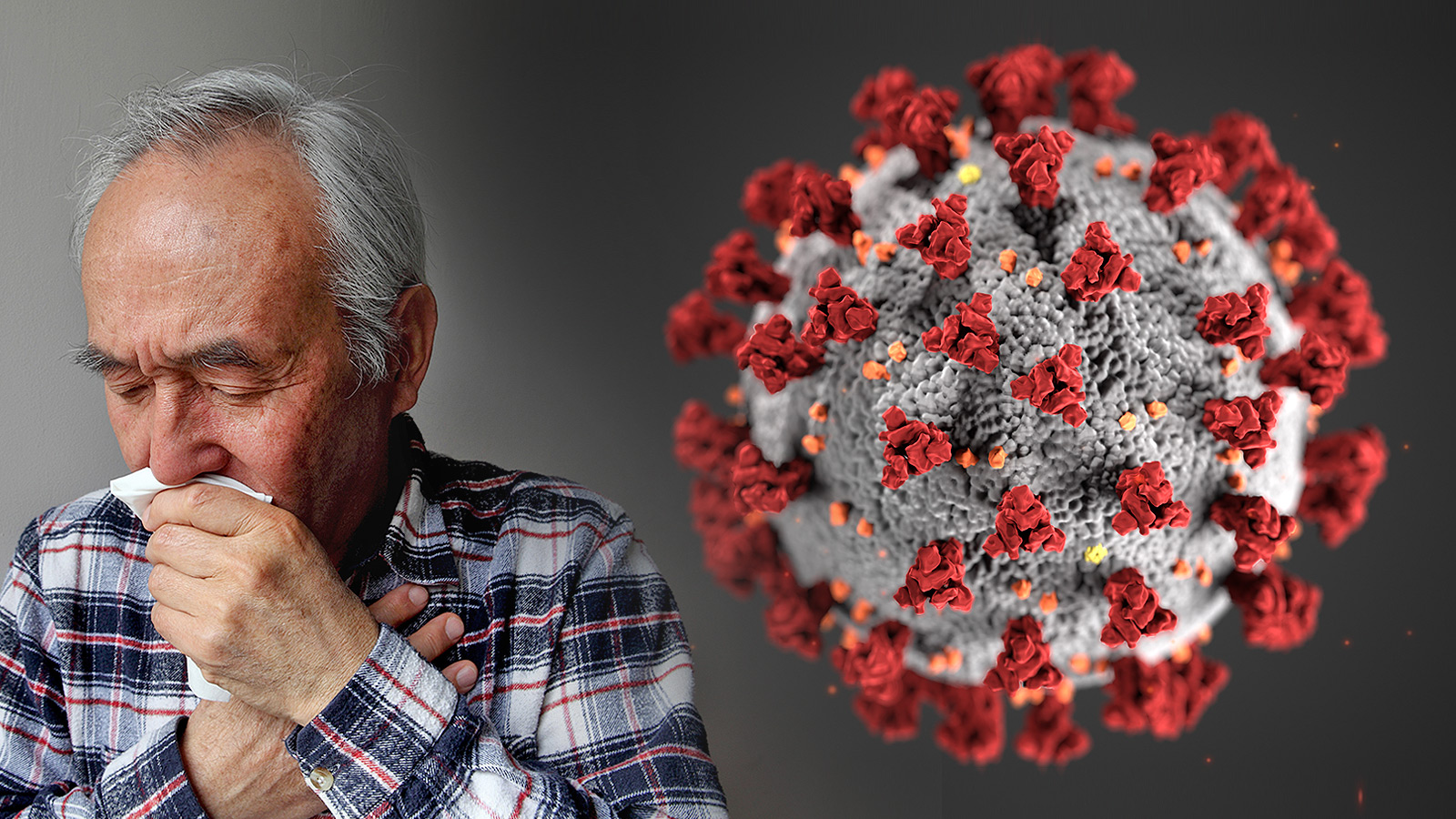 image of man sneezing and graphic representation of a coronavirus