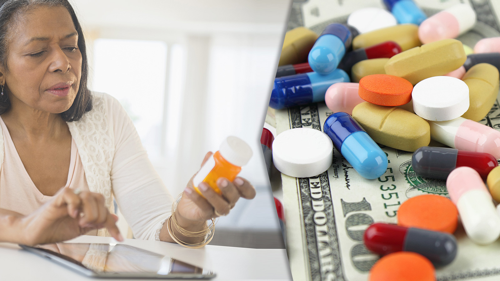 Photo of senior woman reading label on medicine bottle next to photo of multiple pills strewn out across a pile of money.
