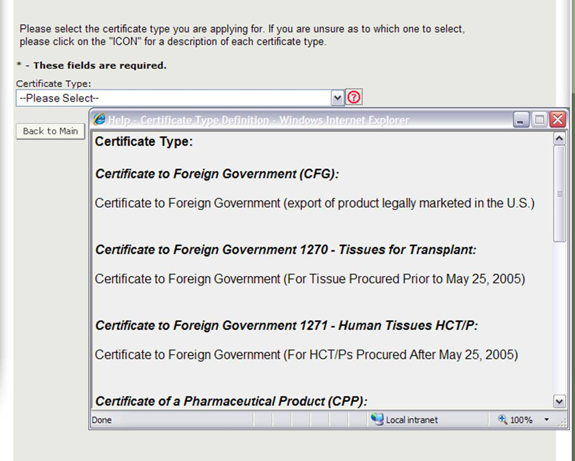 Figure 5: Description of Certificate Types