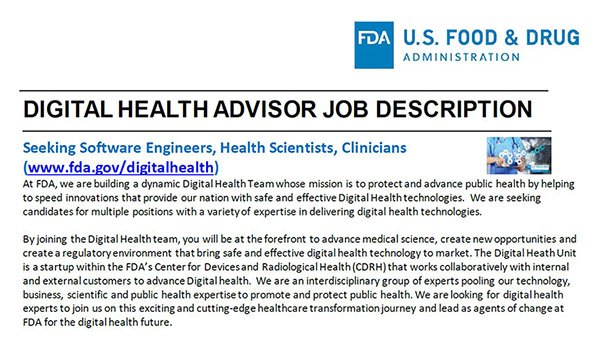 Jobs in the Digital Health Center of Excellence