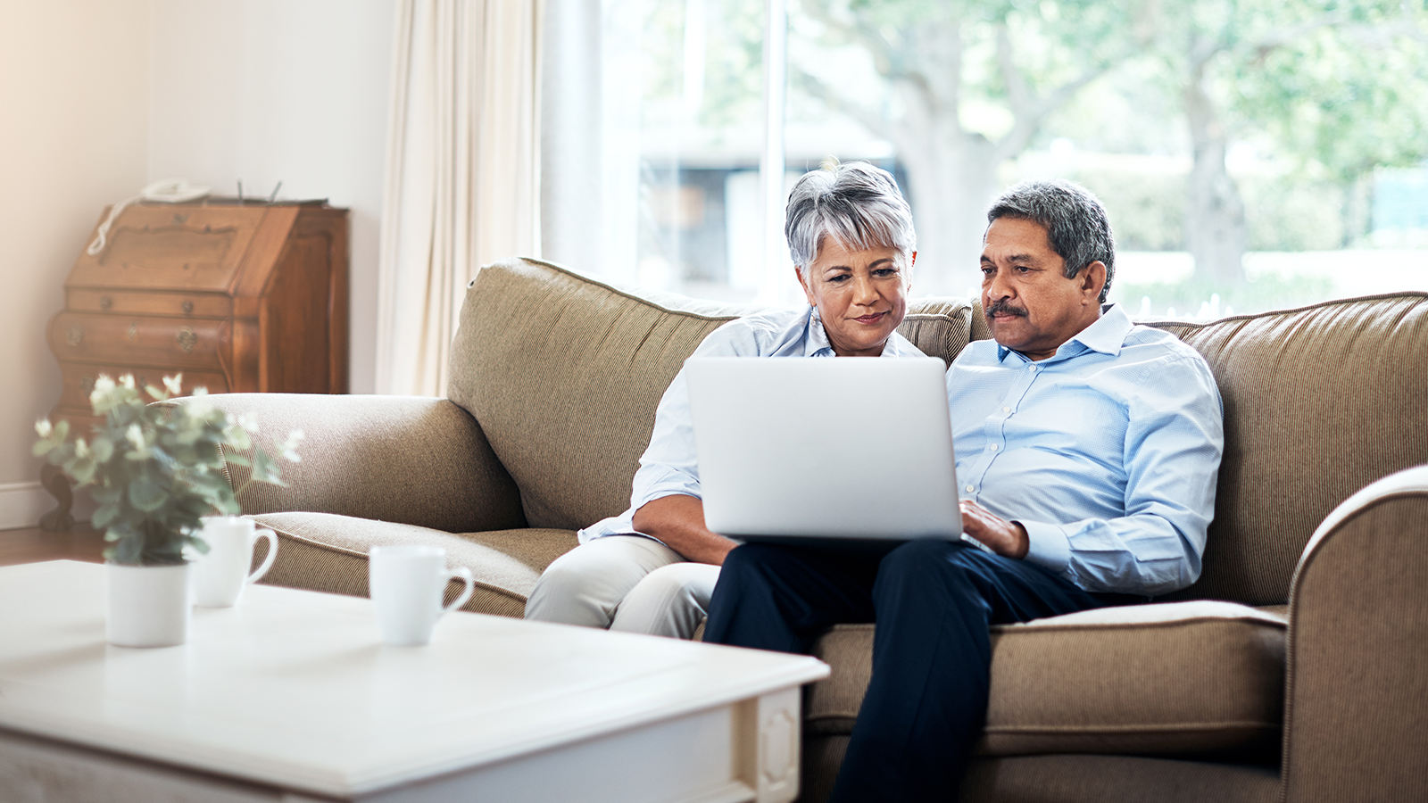 Elderly couple using a computer while sitting on a sofa