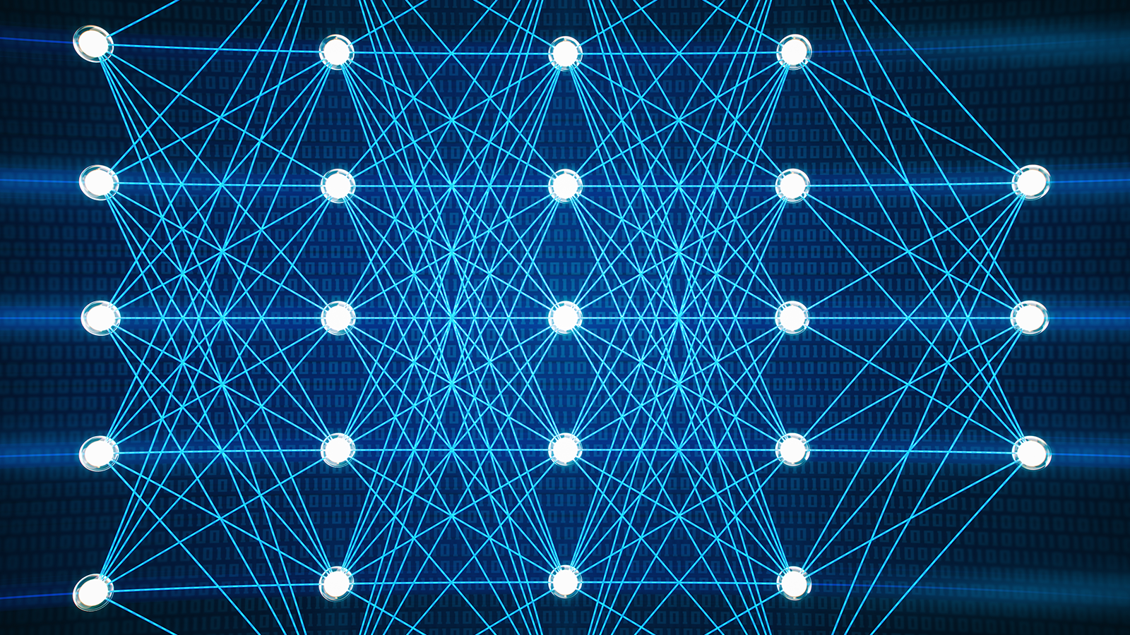 Rows of white dots connected by blue lines to indicate a neural network