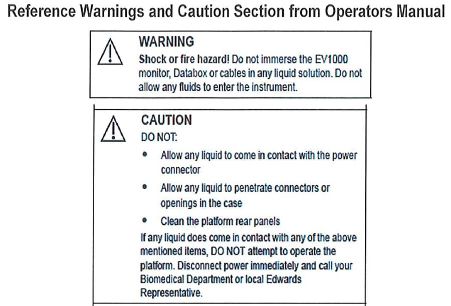 Edwards Lifesciences EV1000 Clinical Platforms Reference Warnings and Caution Section from Operator's Manual