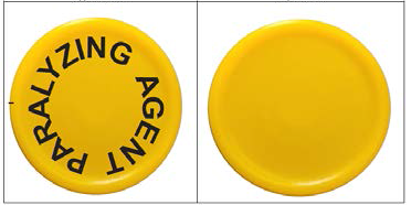 Example images of the approved cap (left) and temporary cap (right) for rocuronium bromide injection.