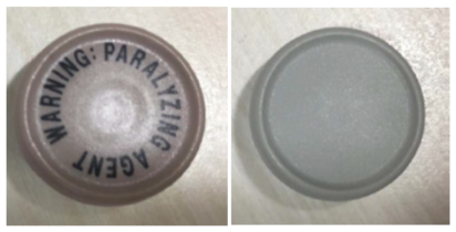 Example images of the approved cap (left) and temporary cap (right) for vecuronium bromide for injection.