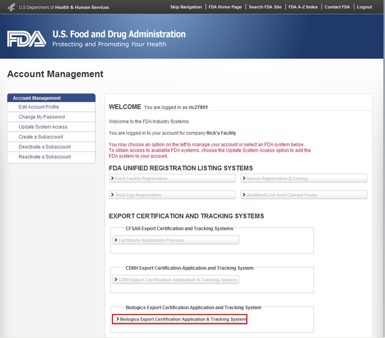 FDA Industry Systems Page