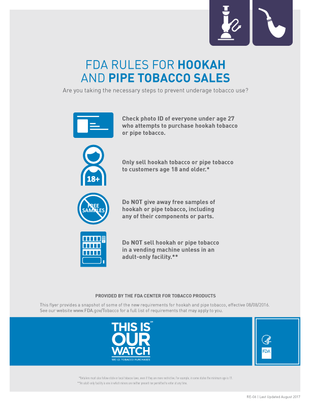Federal Rules for Hookah and Pipe Tobacco Sales Flyer