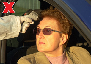 Figure 3: Incorrect Use –Forehead exposed to direct sunlight outdoors