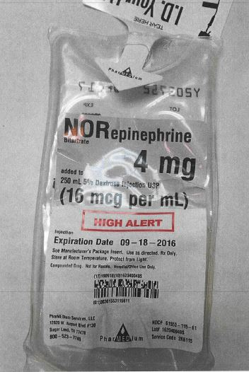 Label image for 4 mg of norepinephrine bitartrate added to 250 mL 5% Dextrose injection USP (16 mcg per mL) compounded by PharMEDium Services