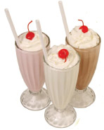 food ingredients additives and colors - vanilla chocolate and strawberry milkshakes