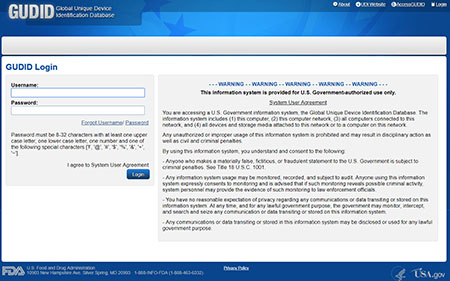 Image of the log-in page for the GUDID Global Unique Device Identification Database. The page includes fields for Username and Password and a Login button as well as the System User Agreement for accessing a U.S. Government Information System.