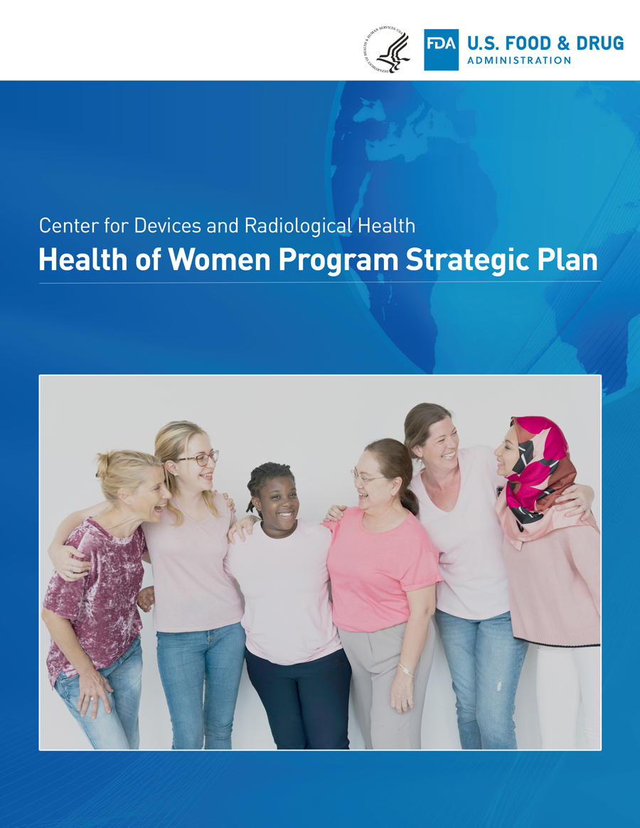Health of Women Strategic Plan report cover showing a globe in a blue background and six women of various ages laughing and smiling together, with arms around each others shoulders.