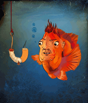 An illustrated fish chasing a cigarette on a hook