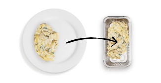 A larger entree can be split into two portions