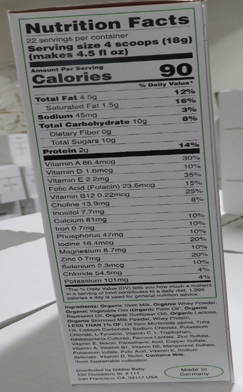 Nutrition Facts Label Sample Image