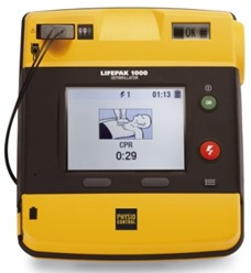 Picture of LIFEPAK 1000 Defibrillator used to deliver lifesaving electrical shocks .