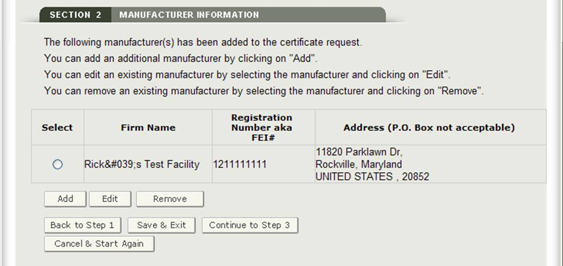Manufacturing Information Review Page