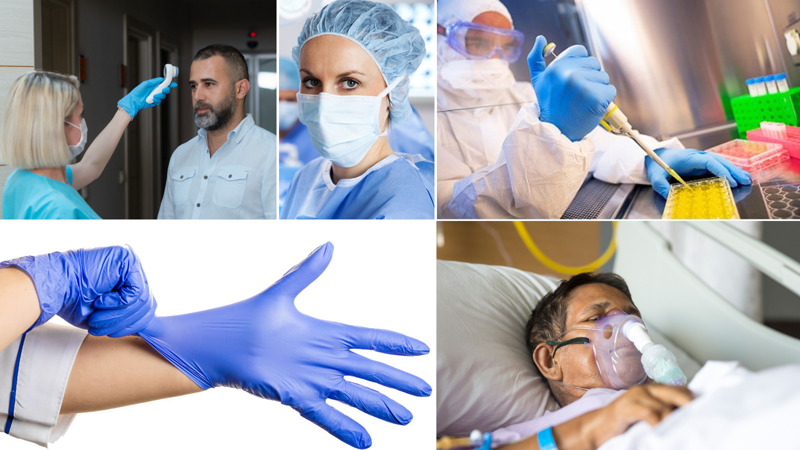 Images of FDA-regulated medical devices: infrared thermometer, mask, gloves diagnostic test, ventilator