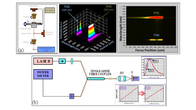 Fig. 2. Principle setup and typical experimental 3D and 2D plots of second- and third-harmonics generated by FSL in corneal tissue (a) [8]; and a confocal nanoscopy invented for ultrahigh-resolution imaging beyond the diffraction limit in the nanoscale range (b) [9].