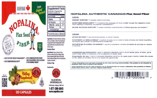 Nopalina Flax Seed Label and Ingredients Image